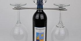 86662 Fluer De Lis Open End Wrench Wine Glass Holder-Nat