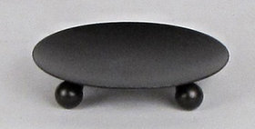 89002 Round 4 inch Candle Plate with 3 Feet -Textured Br
