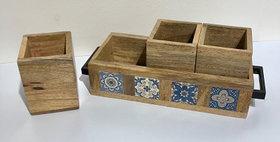 79016 Azulejos 4 Pc Storage Trays