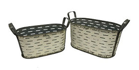 10400 Set of 2 Oval Metal Olive Buckets-Shabby Chic