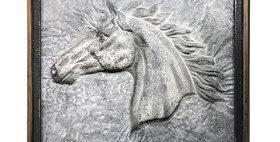 22013 Embossed Stallion Wood Framed Art Panel