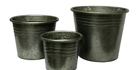 50020 Set of 3 Graphite Flower Buckets-