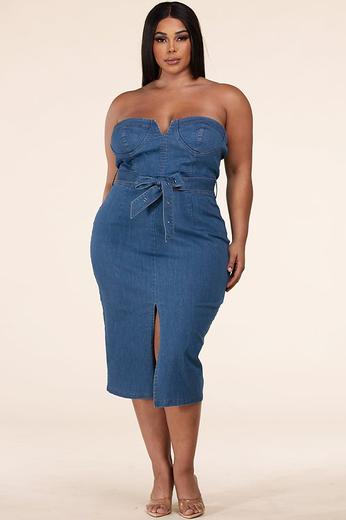 Denim Tube Dress+