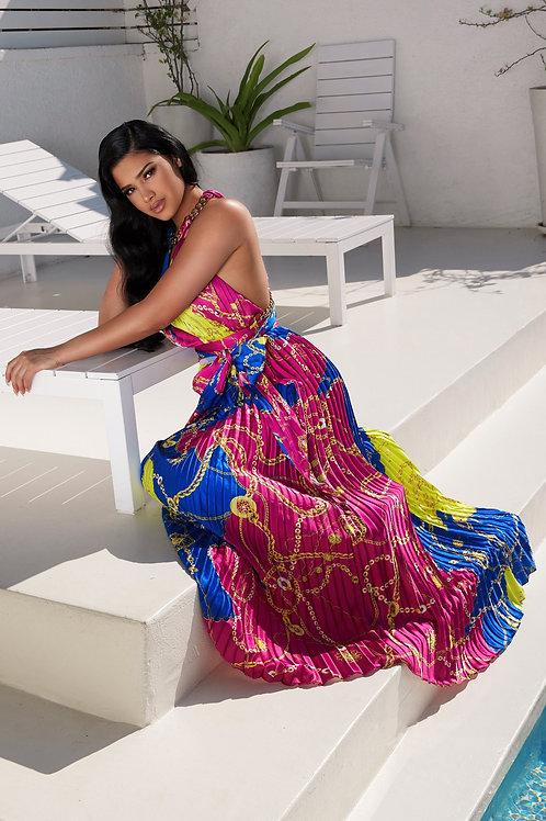 Multi Chain Print Halter Pleated Maxi Dress
