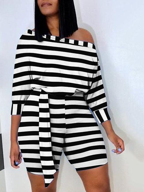 Boat Neck Striped Black 2 pc Shorts Set