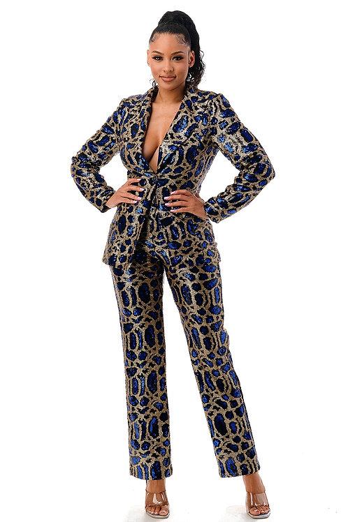 Sequin Blazer & Pant Suit Set