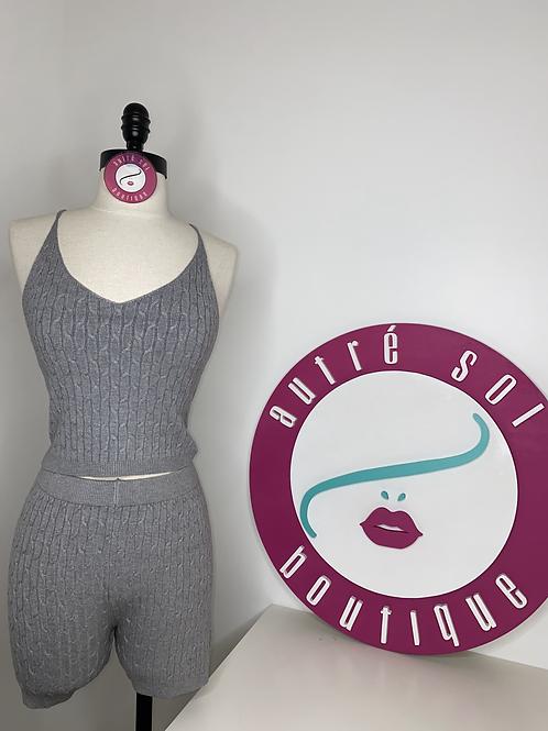 Ribbed Crop Top & Mini Shorts Set