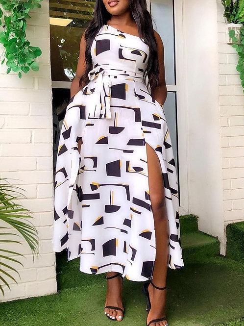 One Shoulder Colorblock High Slit Dress