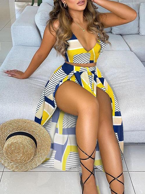 Geo Pattern Crop Top & High Slit Maxi Skirt Set