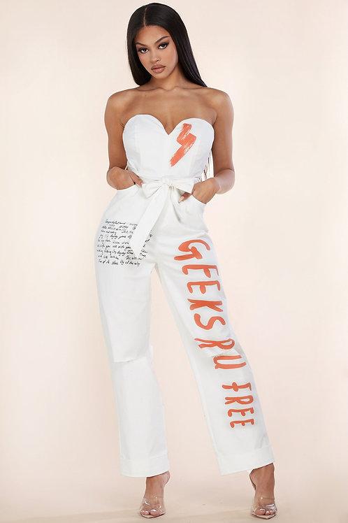 Art Print Strapless Jumpsuit