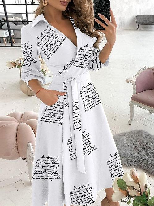 Written All Over Wrap Dress