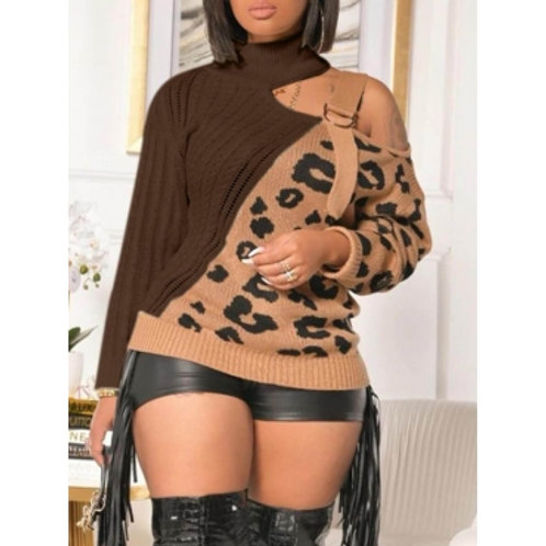 Leopard and Coffee Cold Shoulder Sweater