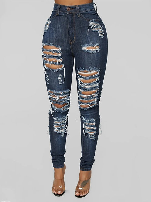 Distressed High Waist Denim Pants