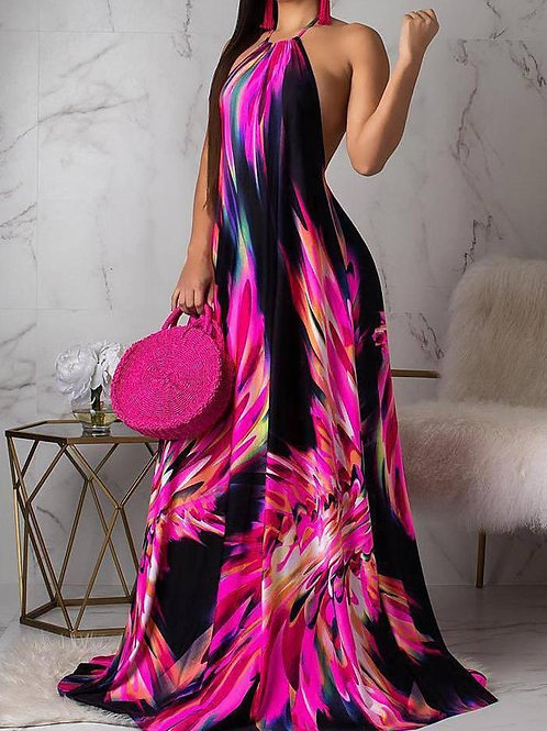 Miami Nights Halter Maxi Dress