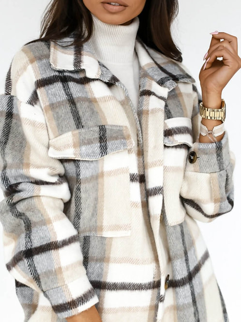 Plaid Print Grey Woolen Sweater