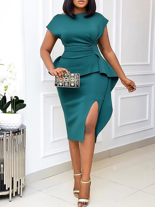 Sleeveless Ruffle  Hem Side Slit Dress