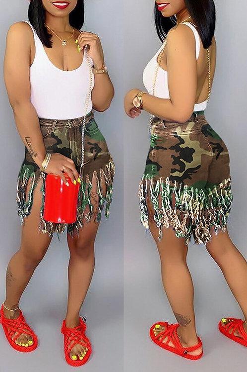 Camo Tassel Shorts