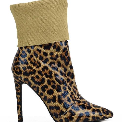 Leopard Fold Top Bootie