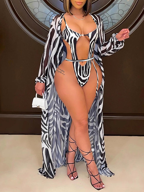 Zebra Stripe Print Cutout One Piece Swimsuit With Cover Up