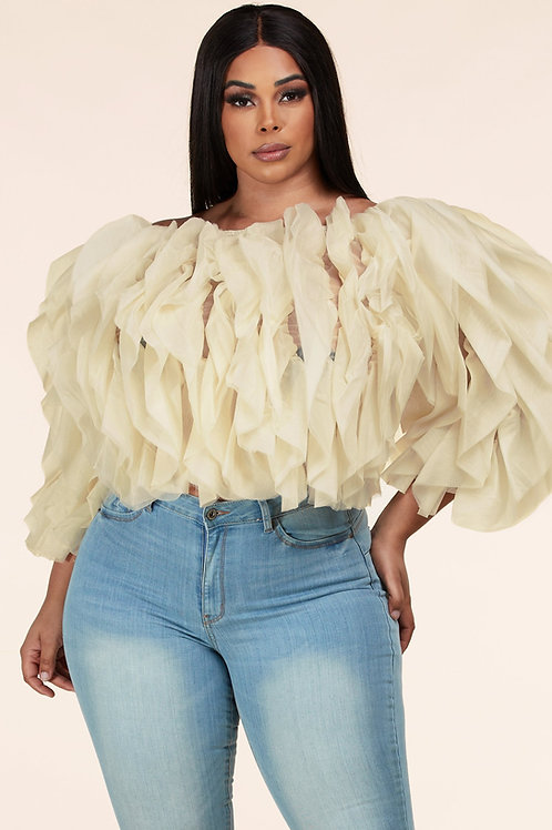 Ivory Tulle Top+