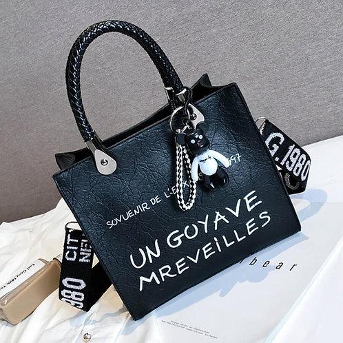 Black Print Messenger Bag