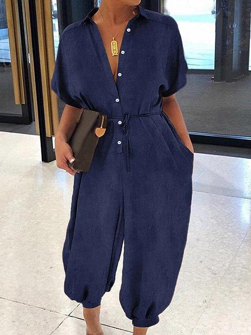 Short Sleeve Denim Maxi Jumpsuit