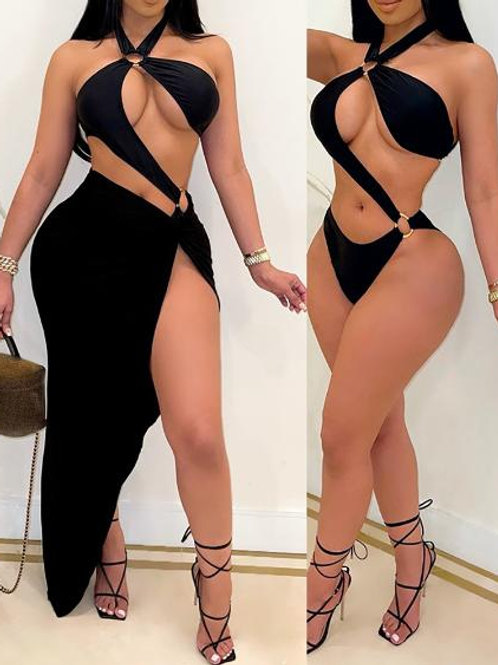 Ashanti One Piece Swimsuit with High Slit Cover Up