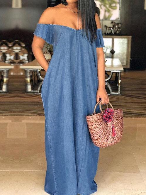 Oversized Off Shoulder Denim Maxi Dress
