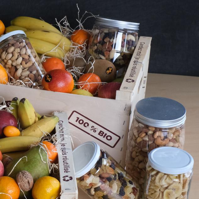 Cagette de fruits - bocaux de fruits sec