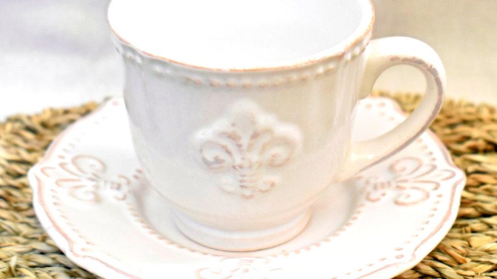 Juego de tazas (6) flor de lis