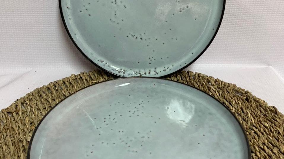 Plato rústico celeste acuarela c/borde (detalles propio de fabricación)