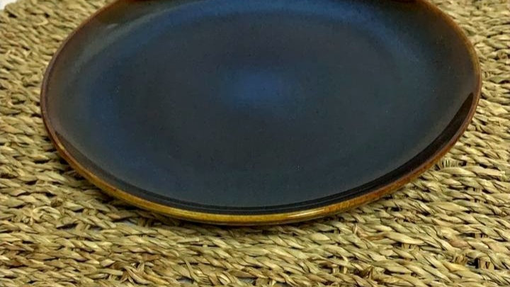 Plato de pan nórdico azul acero(detalle diseño,venta condicionada)