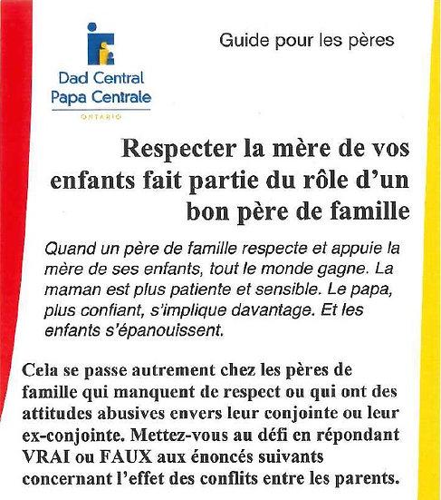 Respecter la mère de vos enfants fait partie du role d'un bon père