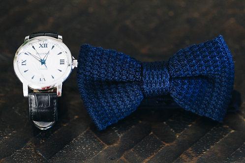 Noeud tricot bleu