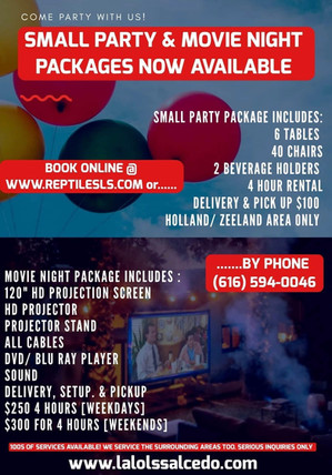 Small Party and Movie Night Packages