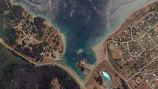Lake Hawea on a beautiful sunny summer day, birds eye view