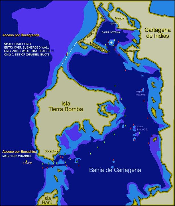Entrance to Cartagena Boca Chica and Boc