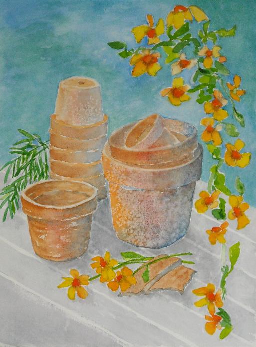 Ten Clay Pots
