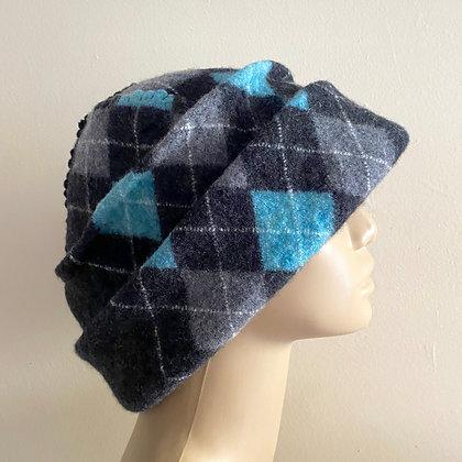 Merino Wool Hat --Argyle teal charcoal black  Free Shipping