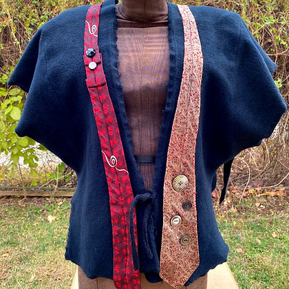 Cashmere Vest with Antique Ties and Buttons