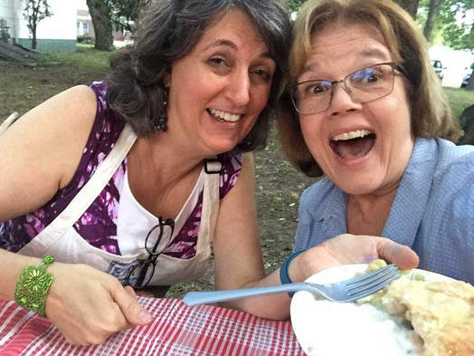 Laura and Marcia Higginson at the Pie-luck