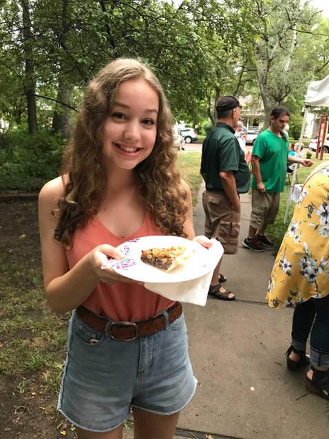 Marguerite with Chocolate Walnut Pie at Pie-luck in Lindsborg, Kansas
