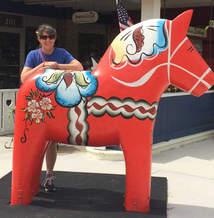 In Lindsborg, Kansas with a Dala horse