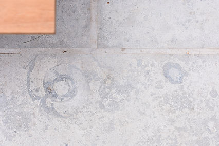 Natural limestone fossils paving detail an iroko timber