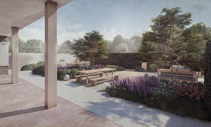 Studio Cullis Richmond in South West London garden design CGI visual showing a garden with seating spaces, large planting beds with multi-stem trees