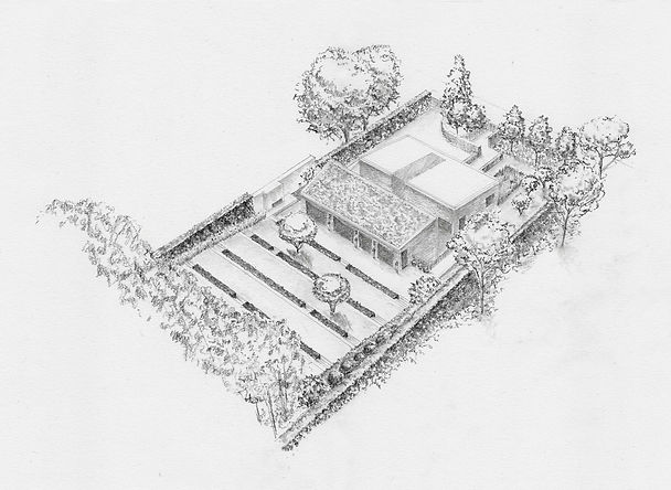 Studio Cullis Sketch axonometric landscape design for a large contemporary home in Hertfordshire England