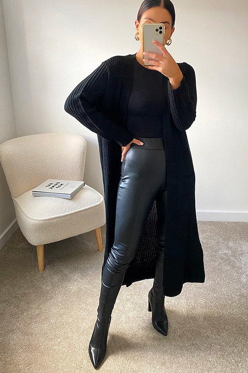 Longline Knitted Cardigan Black