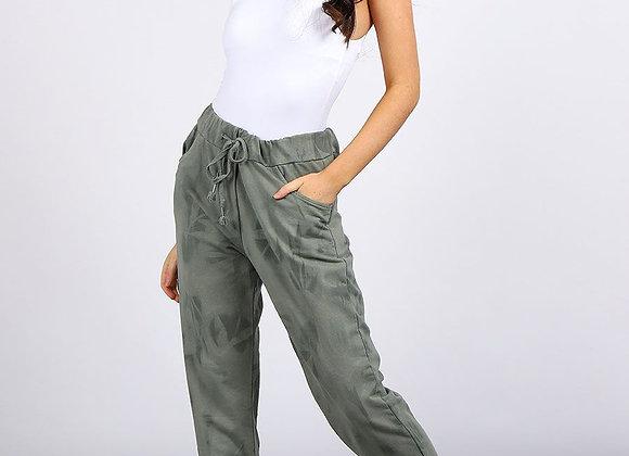 Khaki Tie & Dye Print Side Pockets Cotton Casual Trouser