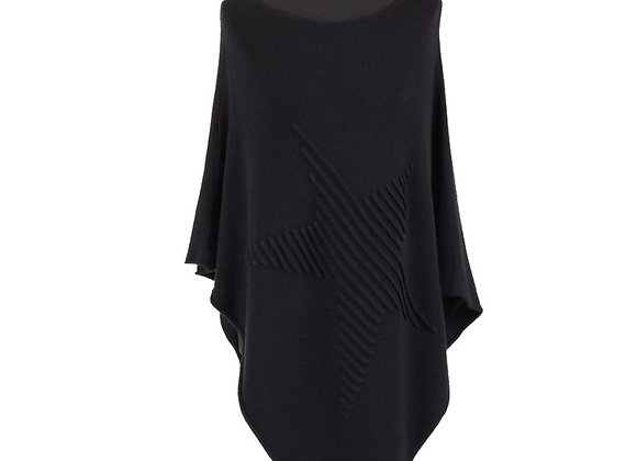 Knitted Lagenlook Star Poncho (Charcoal)