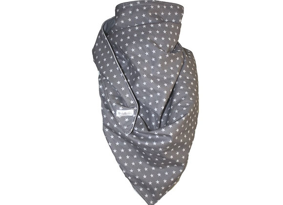Oversized Grey Star Scarf with Nose Wire & Adjustable Ear Loops